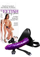 Fetish Fantasy Leather Strap On Satisfy Her 8 Inch Purple