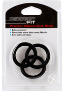Perfect Fit 3 Silicone Cock Rings Black Xl